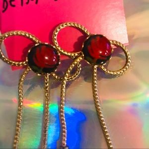 Lucite vintage rose earrings Betsey Johnson bows